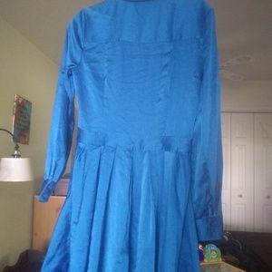 Dkny Dresses - DKNY Donna Karan NY Long Sleeve Satin Shirt Dress